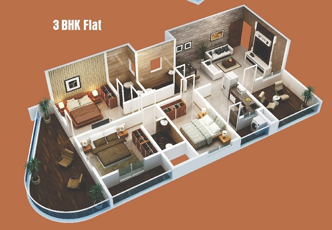 3 BHK Cut Section